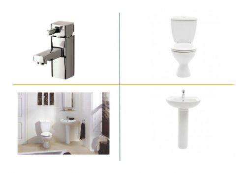 Frontline Atlantic Bathroom Suite Inc Basin, Pedestal,Toilet & Soft Close Seat